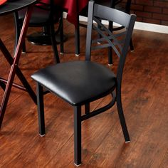 """Lancaster Table & Seating Black Cross Back Chair with 2 1/2"""" Padded Seat"""