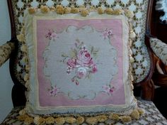 "Rose Tan Pink Needlepoint Petit Point Pillow 14"" by MyFrenchTexas on Etsy"