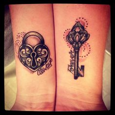 Best Couple Matching Tattoo collection of 2018 from our goose tattoo shop.Love is forver to everyone. couple matching tattoo designs for you. Key Tattoos, Love Tattoos, Unique Tattoos, Small Tattoos, Crown Tattoos, Rosary Tattoos, Beautiful Tattoos, Bracelet Tattoos, Wrist Tattoos