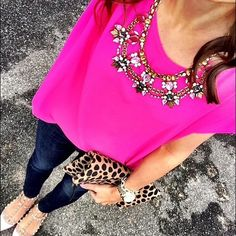 Hot pink top Pink top is in great conditions only used 3 times. It's a big small more like median it does fit lose but that's the stile of this top. Pare it jeans, chunky neckless and some heels and your have yourself a cute outfit Pink Rose Tops Blouses