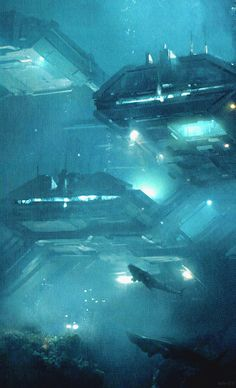 "ME2 Concept Art - Arrival: ""Arrival was originally set in an underwater base built by humans. Shepard was supposed to land on an ocean planet and take a submarine down to the main level. The idea at this stage was to give it a feel like the movie The Abyss, with separate containers for each section of the base."