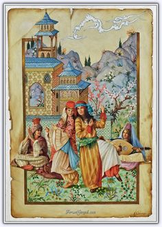 Illustration by Kamil Aslanger We Heart It Wallpaper, Egyptian Drawings, Islamic Paintings, Exotic Art, Iranian Art, Turkish Art, Cute Illustration, Islamic Art, Traditional Art