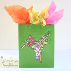 Hummingbird Gift Bag   Fun Family Crafts Tissue Paper Crafts, Paper Crafts For Kids, Recycled Crafts Kids, Ice Cream Day, Edible Crafts, Family Crafts, Craft Tutorials, Kids And Parenting, Special Day