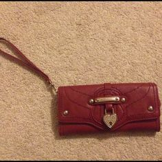 Juicy Couture Wallet/Wristlet LUXE LOCKS LEATHER WRISTLET- Red Wristlet with lock and key on keychain Bags Wallets