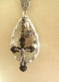 upcycled vintage soldered crystal with cross and freshwater pearls assemblage necklace-free shipping. $52.00, via Etsy.