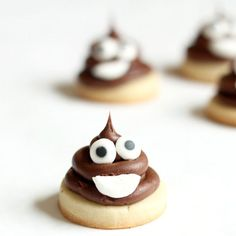 Bite-size poop emoji cookies