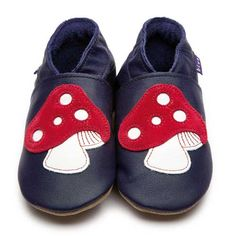 Navy Baby Shoes with Red Toadstool Motif by Inch Blue  £15