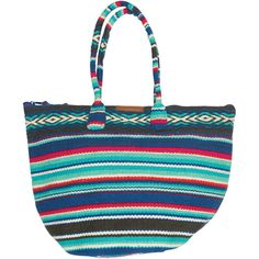 Billabong Women's Even Waves Beach Tote ($22) ❤ liked on Polyvore featuring bags, handbags, tote bags, multi, accessories, print tote bags, jute tote, billabong purse, white beach tote and evening handbags