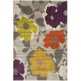 Found it at Wayfair - Porcello Grey / Yellow Floral and Plant Rug
