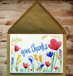 Give Thanks Card, Watercolor Give Thanks Card,Floral Give Thanks Card,Wedding Give Thanks Card,Birthday Thank you card