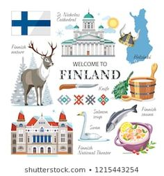 travel Finland national traditional vector symbols collection clipart with architecture sights, nature, animals, sauna accessorises, government symbols Finland Culture, Finnish Language, World Geography, Christmas Settings, Holiday Activities, People Of The World, Pictures Images, Map Art, European Travel