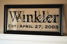 Family name on glass.