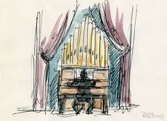 """Early concept art for the Grand Hall organist. -- And, as any Disney fan can tell you, the organ that was eventually used for this scene is the actual organ played by Captain Nemo in Disney's adaptation of """"20,000 Leagues Under the Sea""""."""