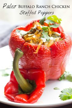 Paleo Buffalo Ranch Chicken Stuffed Peppers - Quick and easy this recipe is perfect for weeknight meals! | wickedspatula.com