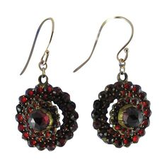 Antique Victorian Bohemian Garnet Earrings With Gold Wires: Removed Garnet Jewelry, Garnet Earrings, Gold Earrings, Garnet And Gold, My Birthstone, Gold Wire, Bohemian Jewelry, Birthstones, Om