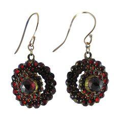 -Victorian Bohemian Garnet Earrings with 14K Gold Wires