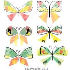 """227 Me gusta, 8 comentarios - •Sally Payne (UK)• (@sallypayne_design) en Instagram: """"More butterflies today, these have a geometric feel to them, love the symmetry #illustration…"""""""