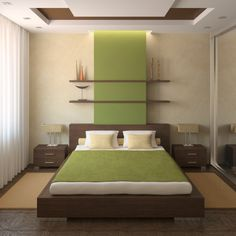 Contemporary Cool  Shelving on top of the bed is the perfect place to showcase sculptures.