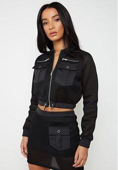 Maniere De Voir's latest collection of on-trend women's clothing, from cargo to corsets and bodysuits to jumpsuits. Swag Outfits For Girls, Cute Comfy Outfits, Edgy Outfits, Girls Wear, Fashion Outfits, Short Red Prom Dresses, Spy Outfit, Stylish Hoodies, Black Bomber Jacket