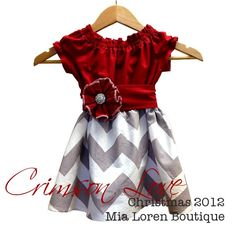 Girls Crimson Love Peasant Dress with Rhinestone Flower Sash / Sizes 12-18 Months to 5T. $49.99, via Etsy.