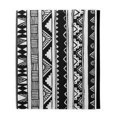 Trendy Black White Aztec Tribal Geometric Pattern iPad Cases