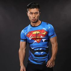 DC Superman Lively Bright Blue Compression Short Sleeves Running T-shirt  #DC #Superman #Lively #Bright #Blue #Compression #Short #Sleeves #Running #T-shirt