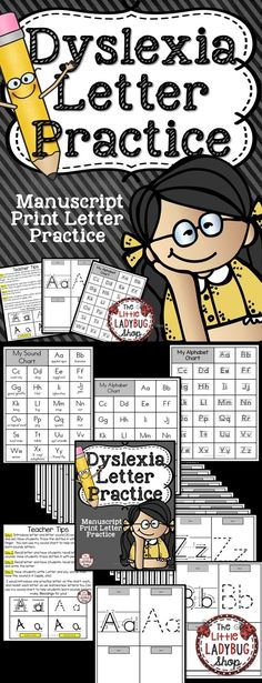 Dyslexia | Dyslexia Letter Practice  Dyslexia Manuscript Letter Practice {Complete Packet Letters A-Z- Dysgraphia Handwriting Practice. Using this packet for my students having difficulty with print is amazing! It helps them with the letter formation and letter practice as well with having them practice the sounds that we are working on. #dyslexia #print #handwriting