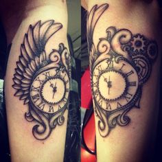 Steam Punk Clock, tattoo studio BLCK, sweden.