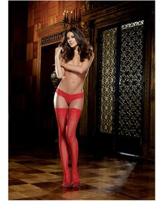 Stay Up Thigh Highs w/Lace Top Red O/S