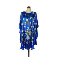 Silk Kaftan Peacock -  Electric Blue Cotton Sleepwear, Sleepwear Women, Silk Kaftan, Resort Wear, Electric Blue, Nightwear, Peacock, Lady, How To Wear