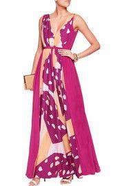 RaoulSarina pleated printed silk-twill gown