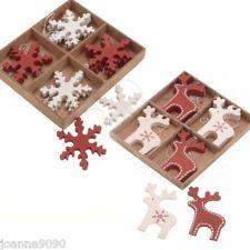 WOODEN WOOD NORDIC CHRISTMAS TREE DECORATIONS SCANDI NORDIC DEER SNOWFLAKE