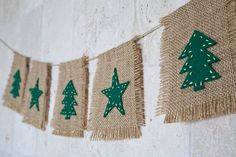 ON SALE Natural burlap and felt Christmas Garland, Christmas Trees and Stars Banner, Winter Holiday Home Decor, Rustic Garland, Photo Prop