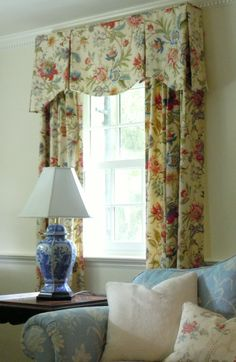 shaped valance and draperies - window treatment styles - interior design and photo by Laurel Bern Valance Window Treatments, Kitchen Window Treatments, Custom Window Treatments, Window Coverings, Traditional Window Treatments, Kitchen Window Curtains, Kitchen Valances, Drapery Designs, Custom Drapes