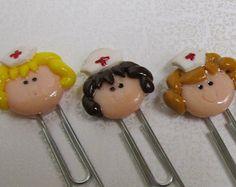 Polymer clay nurse paper clip bookmark