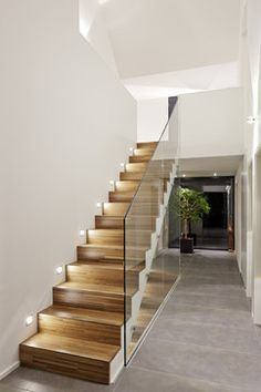 Privat House 2 contemporary Staircase Other Metro Juergen Pollak Photogr Modern Staircase Contemporary House Juergen Metro Photogr Pollak Privat Staircase Stair Railing Design, Home Stairs Design, Staircase Railings, Wooden Staircases, Interior Stairs, House Design, Staircase Ideas, Glass Stair Railing, Railing Ideas