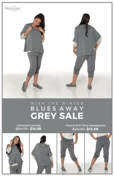 Wish those #WinterBlues away with our stylish, comfortable French Knit Terry Sweatpants and Oversized Hoodie. Today only, APRIL 1st, you can order these items for a price so low, you'll think it's an April Fools' Joke (but it's not, we promise!)   http://heirloomclothing.com/products/fashion-french-terry-pant   http://heirloomclothing.com/products/fashion-drape-sleeved-hoodie