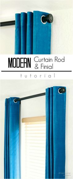 How to make DIY modern style curtain rods and finials