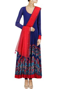 Blue and red applique work anarkali set by DIVA'NI. Shop now at: www.perniaspopups... #perniaspopupshop #amazing #beautiful #clothes #style #designer #fashion #stunning #trend #new