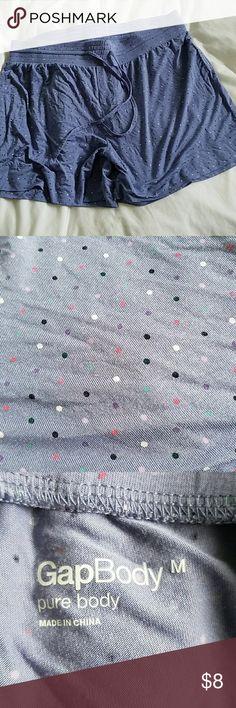 💥🏠Moving Sale! Gap Body Polka Dot Shorts Size MEDIUM ultra soft modal shorts. Light periwinkle blue shorts, elastic waist. Pink, purple, white & blue polka dots. Shorts