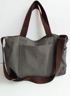 Gray Shoulder bag/Messenger bag/Diaper bag/Tote bag/Crossbody bag by litacraft on Etsy https://www.etsy.com/listing/179113133/gray-shoulder-bagmessenger-bagdiaper