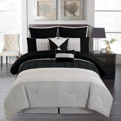 8 Piece Queen Dicus Black and Gray Comforter Set