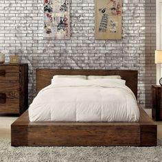 Lowest price online on all Furniture of America Elbert Queen Platform Bed in Rustic Natural - Queen Platform Bed, Upholstered Platform Bed, Low Platform Bed Frame, Rustic Platform Bed, Platform Bedroom, Bed Design, Home Design, Design Ideas, Design Bedroom