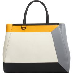 Fendi 3D Intarsio-Effect Small 2jours Tote ($2,890) ❤ liked on Polyvore featuring bags, handbags, tote bags, purses, totes, yellow, man bag, tote handbags, colorblock tote and yellow handbags