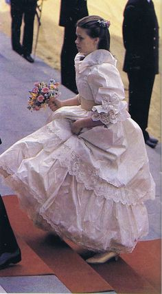 Diana's bridesmaid walking into St. Paul's Cathedral for Royal Wedding of Prince Charles & Lady Diana Spencer July 29, 1981.
