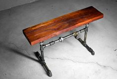 Vintage Rustic Bench with Industrial Pipe by VintageLightCompany, $190.00