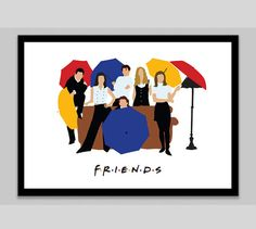 This print features the main characters from Friends. Ross & Monica Geller, Chandler Bing, Joey Tribbiani, Pheobe Buffay and Rachel Green. Joey Tribbiani, I Love My Friends, Friends Tv Show, Friends Moments, Chandler Bing, Quote Prints, Art Prints, David Crane, Friends Poster
