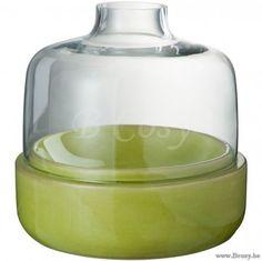 J-Line Windlicht flesvorm met groene Keramiek 25H Jline-by-Jolipa-50392