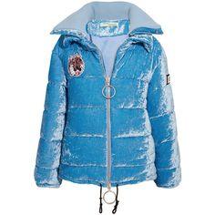 Off-White Embellished crushed-velvet jacket ($1,325) ❤ liked on Polyvore featuring outerwear, jackets, blue, patch down jacket, snap jacket, utility jacket, blue jackets and padded jacket