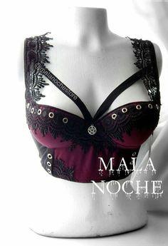 Vampiria Bra, Goth,bra harness,lace bralette, goth lingerie, womens bra,dark,body harness, victorian bra, luxury lingerie, pentagram